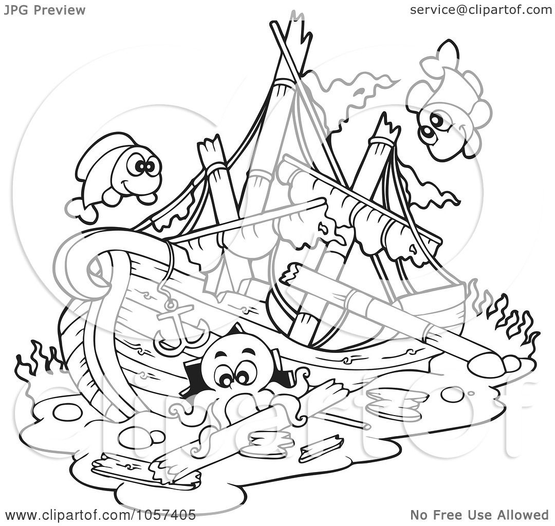 royalty free vector clip art illustration of a coloring page outline of a sunken ship by visekart