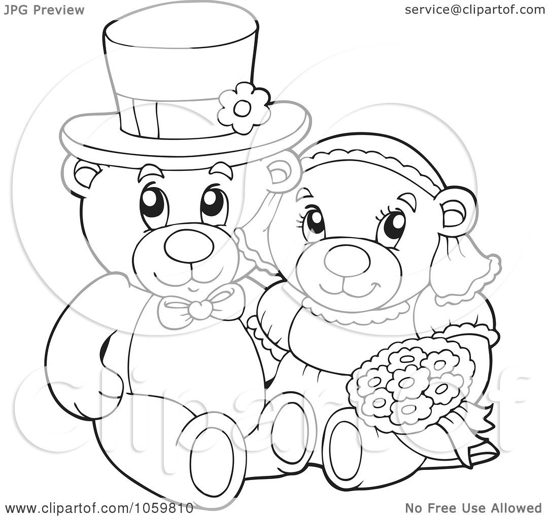 wedding bears coloring pages - photo#1
