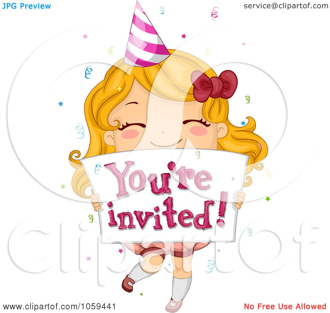 Happy Birthday Girl Illustration ~ Royalty free vector clip art illustration of a cute birthday girl holding you re invited sign