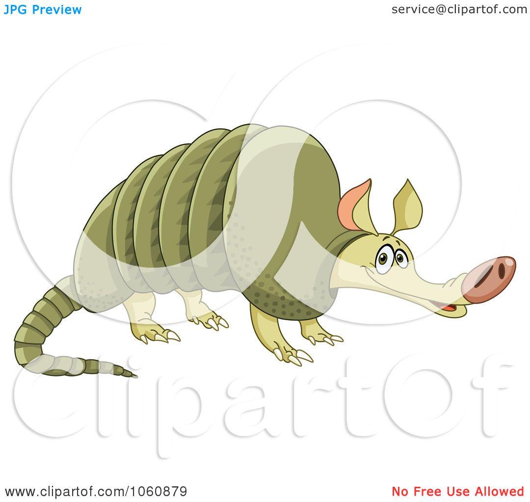 royalty-free vector clip art illustration of a cute green armadillo
