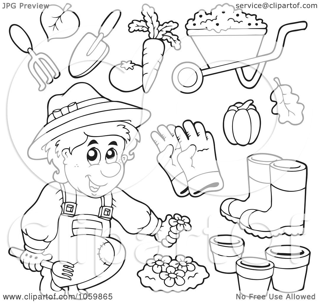 Gardening Coloring Pages For Kindergarten : Royalty free vector clip art illustration of a digital