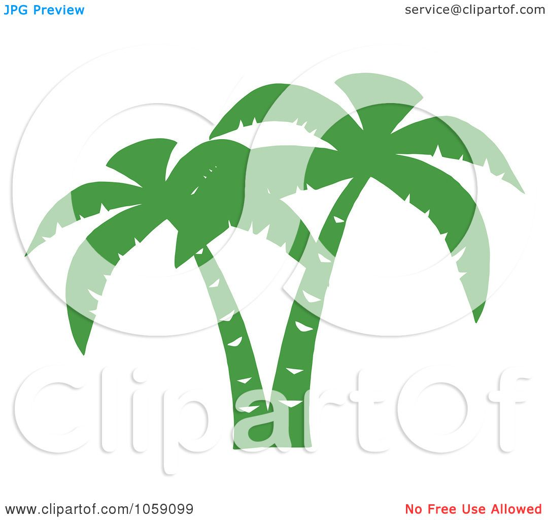 Royalty-Free Vector Clip Art Illustration of a Double Palm Tree ...