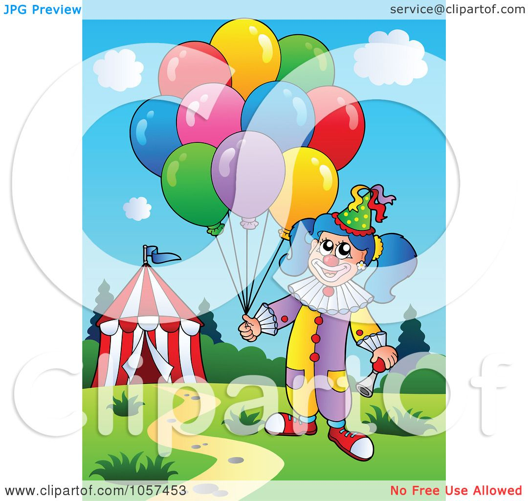 ... Clip Art Illustration of a Female Circus Clown With Balloons By A Tent