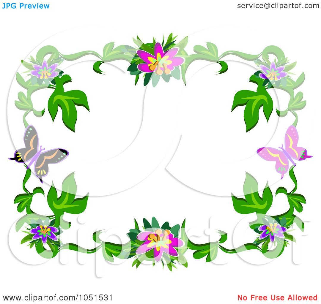 royalty free vector clip art illustration of a floral butterfly frame 4 by bpearth