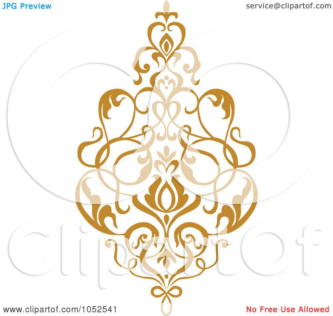Royalty-Free Vector Clip Art Illustration of a Gold Damask ...