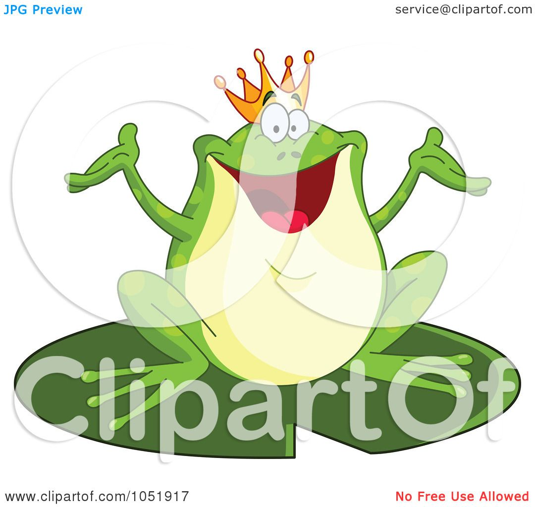 royalty free vector clip art illustration of a happy frog prince