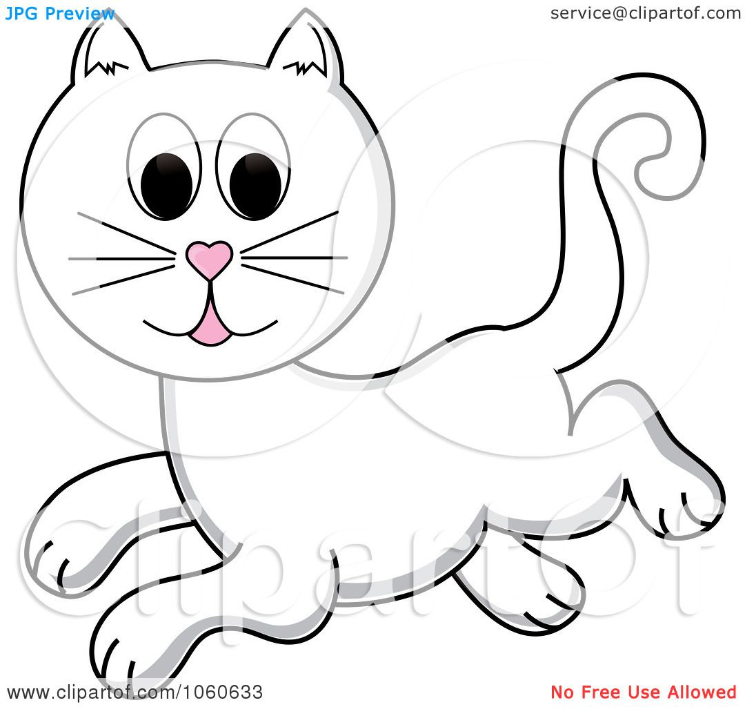 Royalty-Free Vector Clip Art Illustration of a Leaping White Cat ...