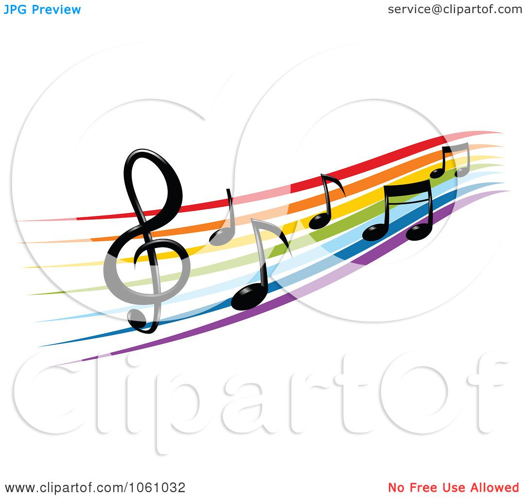 royalty free vector clip art illustration of a rainbow staff and rh clipartof com Music Notes Background Music Notes