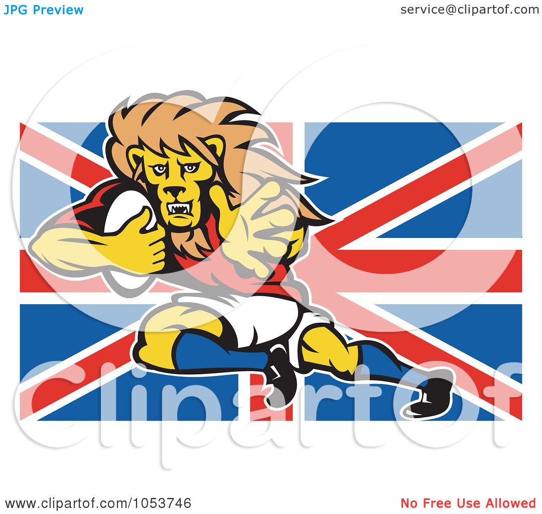 Royalty free vector clip art illustration of a rugby lion - Uk flag images free ...