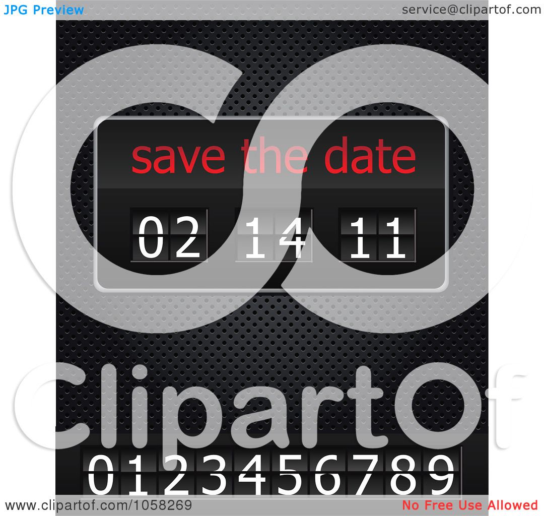 Save the Date Clip Art http://www.clipartof.com/portfolio/upstudio/illustration/save-the-date-ticker-with-numbers-on-a-black-grid-1058269.html