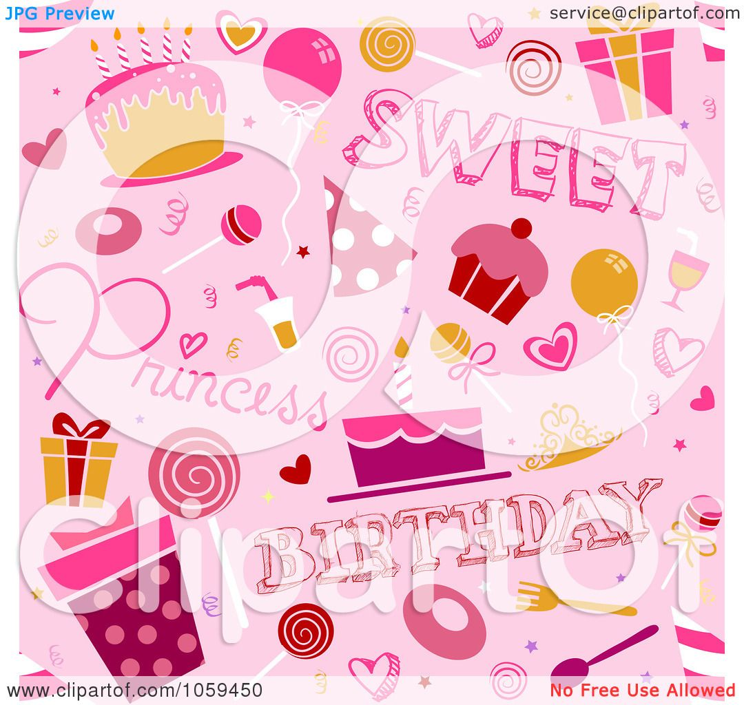 Royalty Free Vector Clip Art Illustration Of A Seamless Pink Girl
