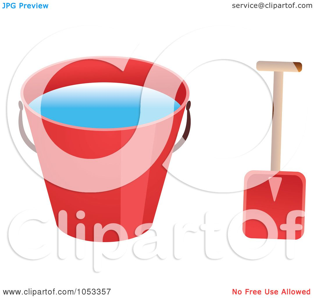 Art Illustration of a Shovel And Red Beach Bucket With Water by Prawny