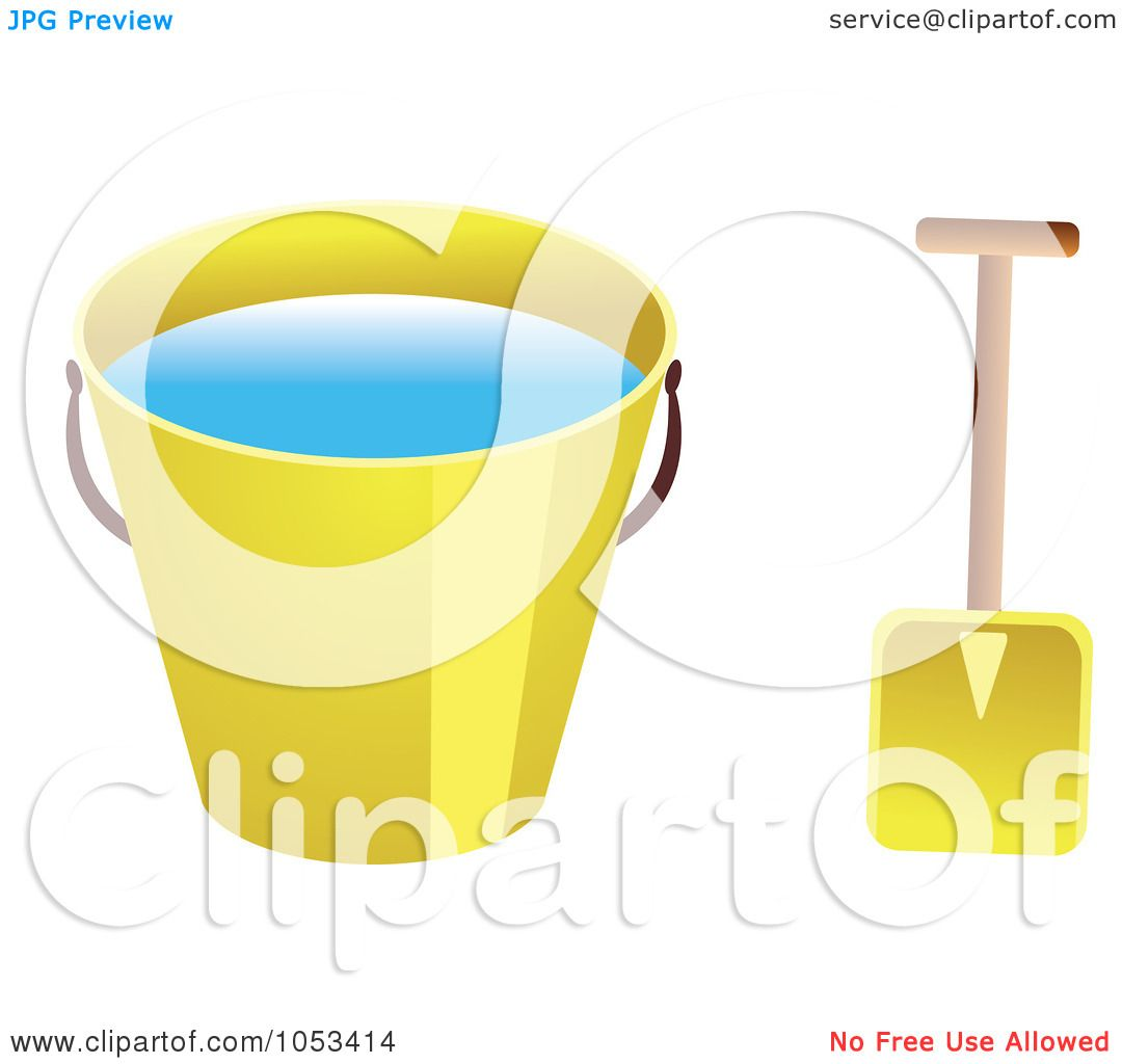 royalty free vector clip art illustration of a shovel and yellow