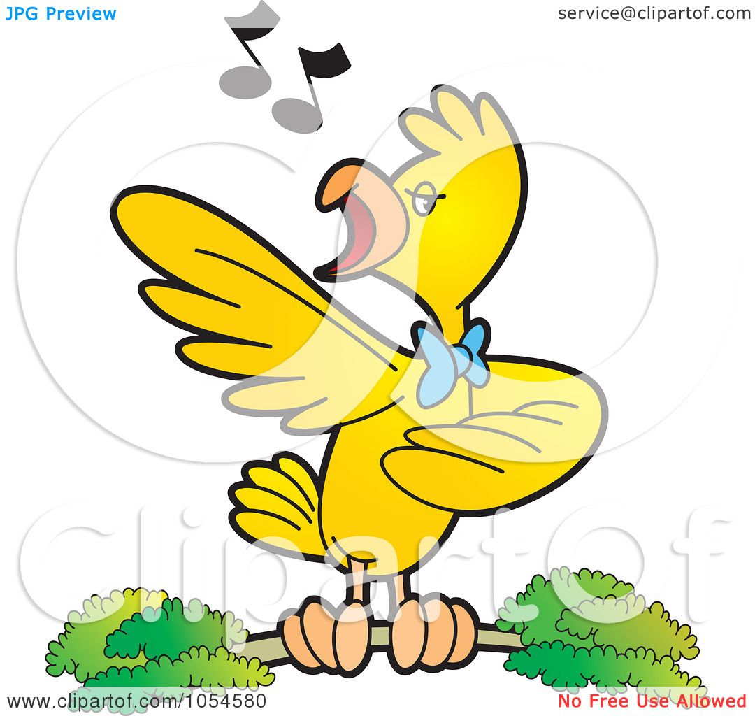 royalty free vector clip art illustration of a singing bird by lal