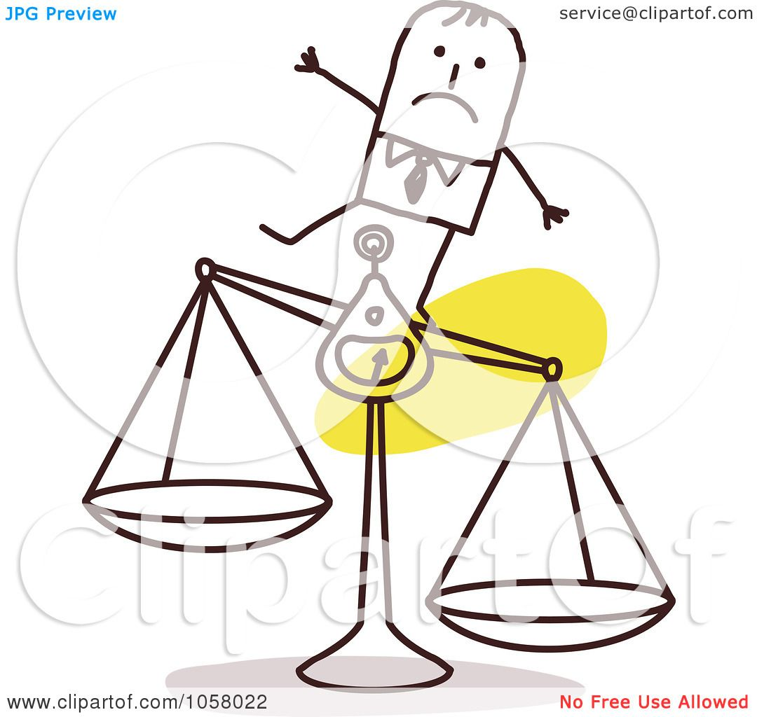 royalty free vector clip art illustration of a stick Unbalanced Scales of Justice Food Scale Clip Art