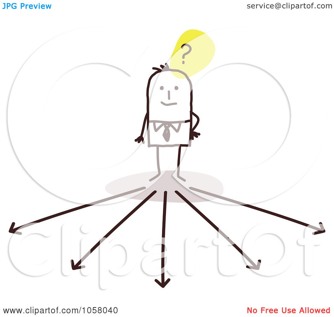 Deciding stock illustrations royalty free gograph - Royalty Free Vector Clip Art Illustration Of A Stick Businessman Trying To Decide Which Way To Go By Nl Shop