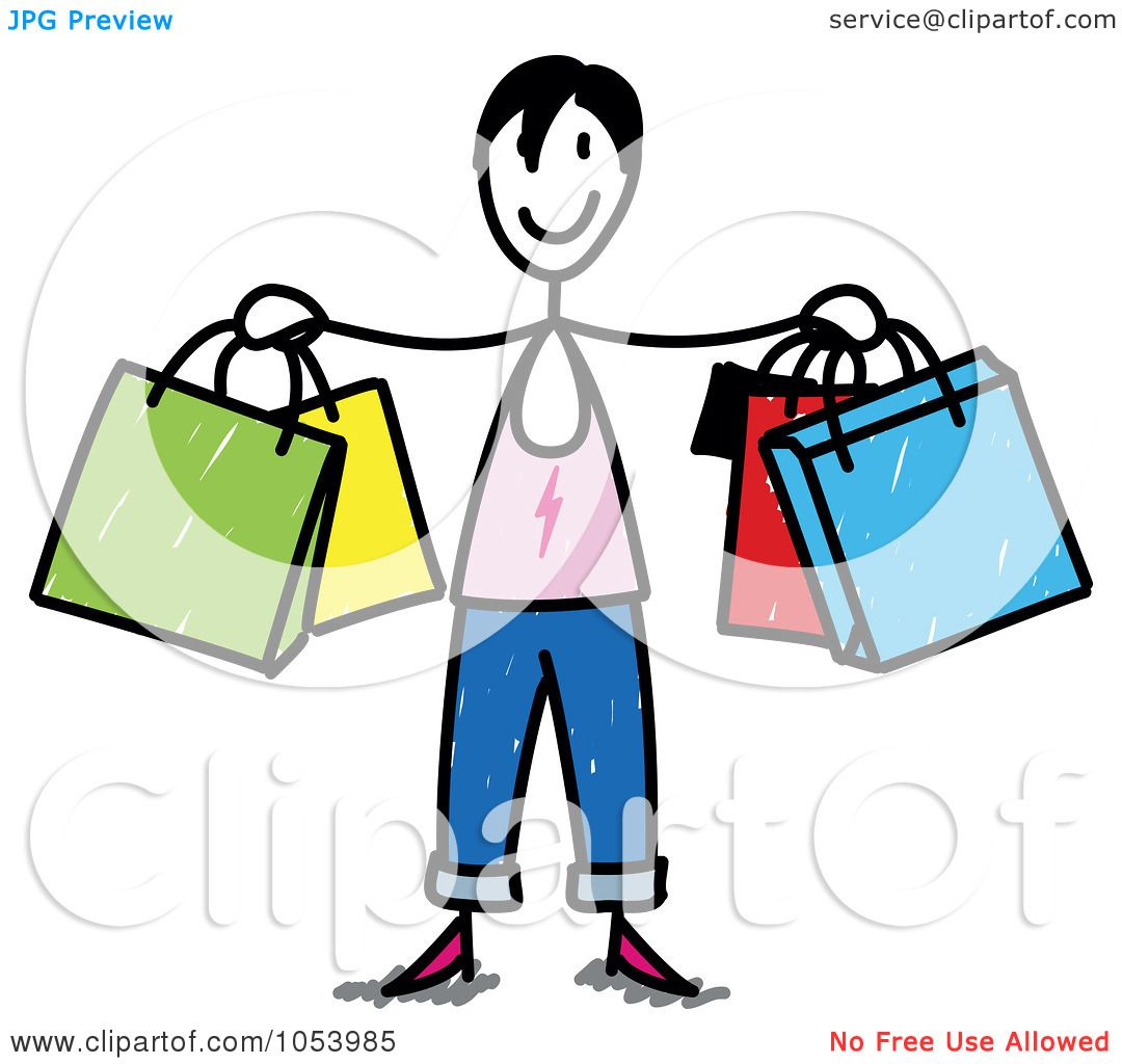royalty free vector clip art illustration of a stick woman shopping clipart free download shopping clip art free black and white