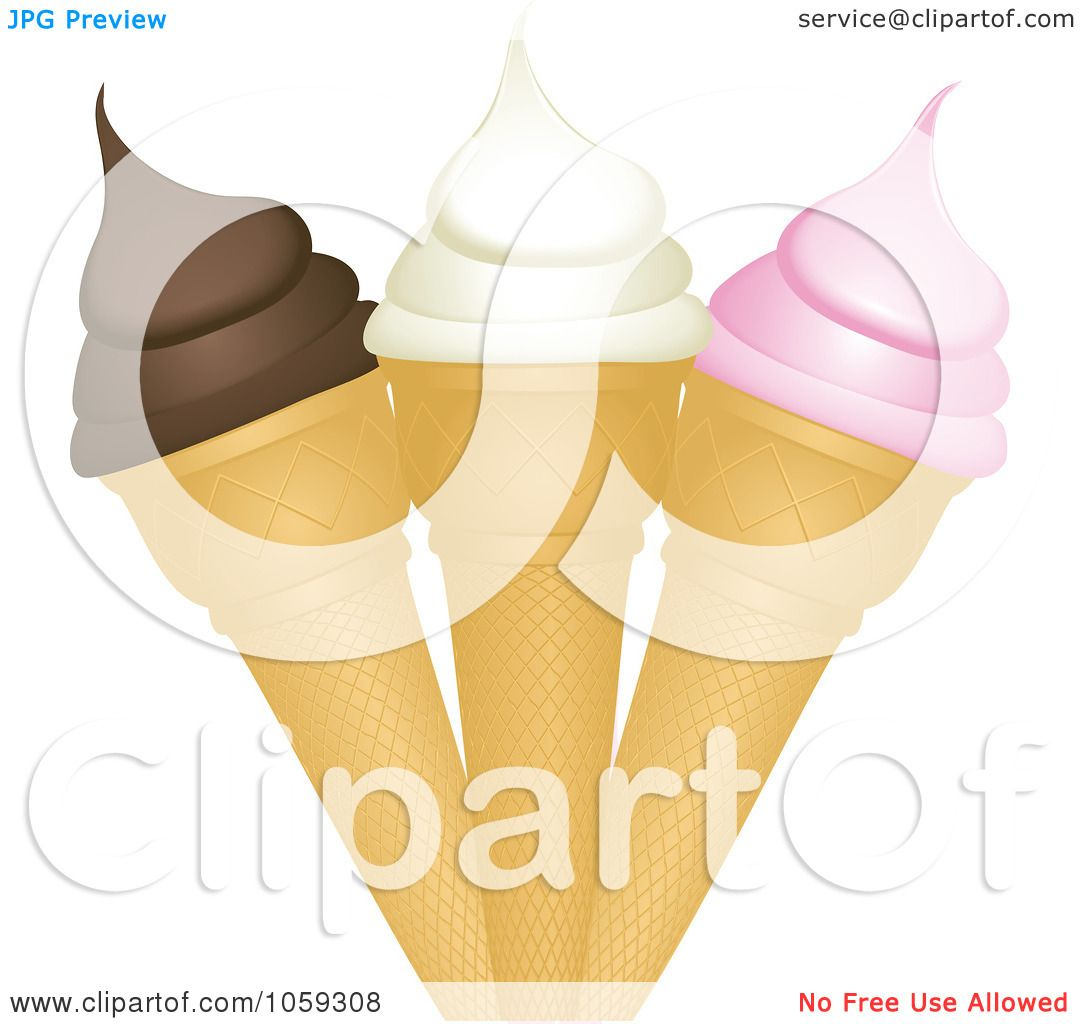 Ice Cream Cones Background Royalty Free Vector Image: Royalty-Free Vector Clip Art Illustration Of A Trio Of Ice