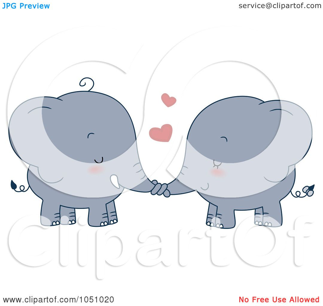 Royalty Free Vector Clip Art Illustration Of A Valentine Elephant Couple  Holding Trunks By BNP Design Studio