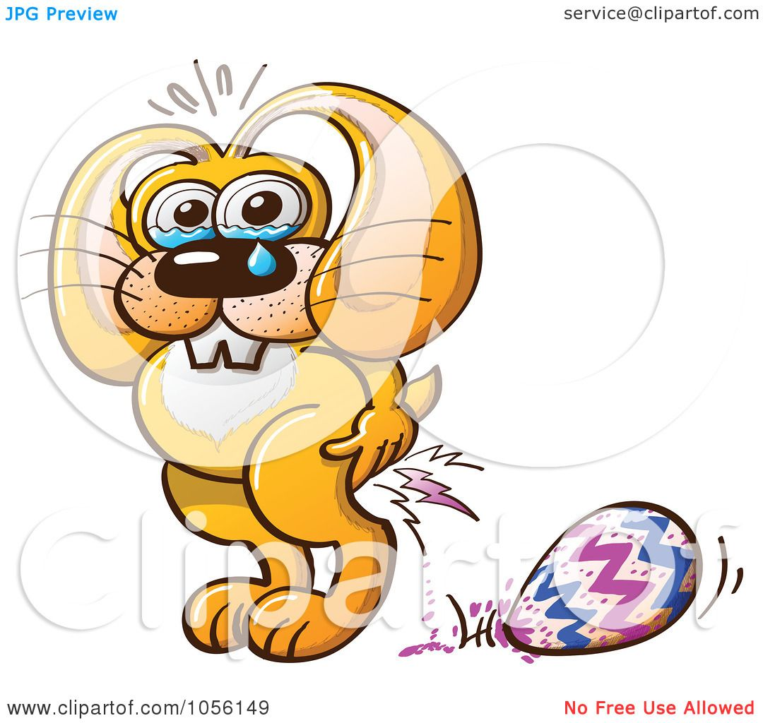 royalty free vector clip art illustration of a yellow bunny crying