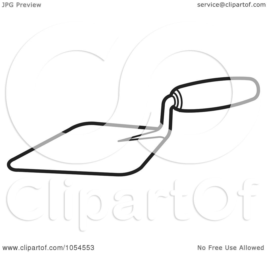 Illustrations Of A Trowel : Royalty free vector clip art illustration of an outlined