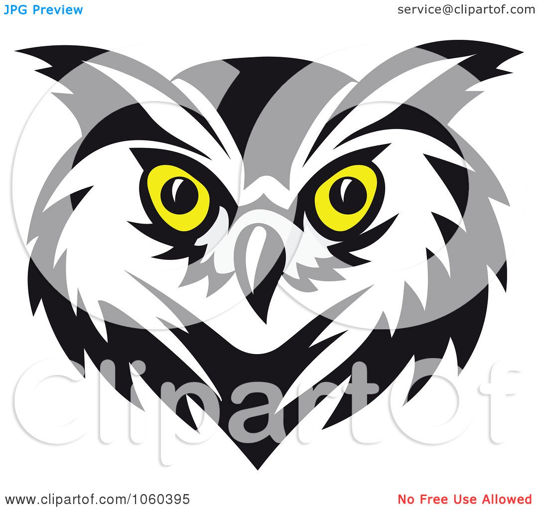 Royalty Free Vector Clip Art Illustration Of An Owl Face Logo 4