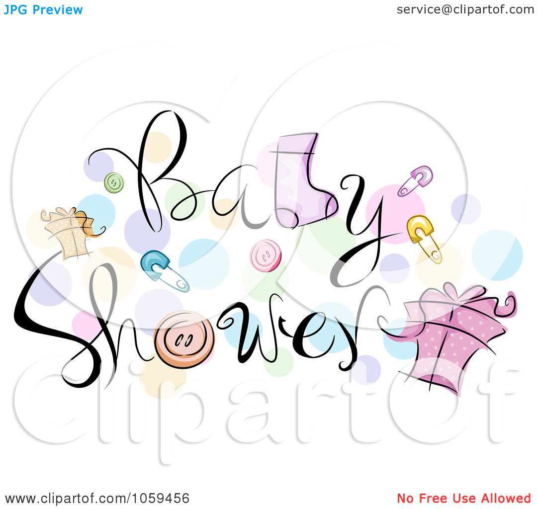 royalty free clipart illustration of baby shower text with items and ...