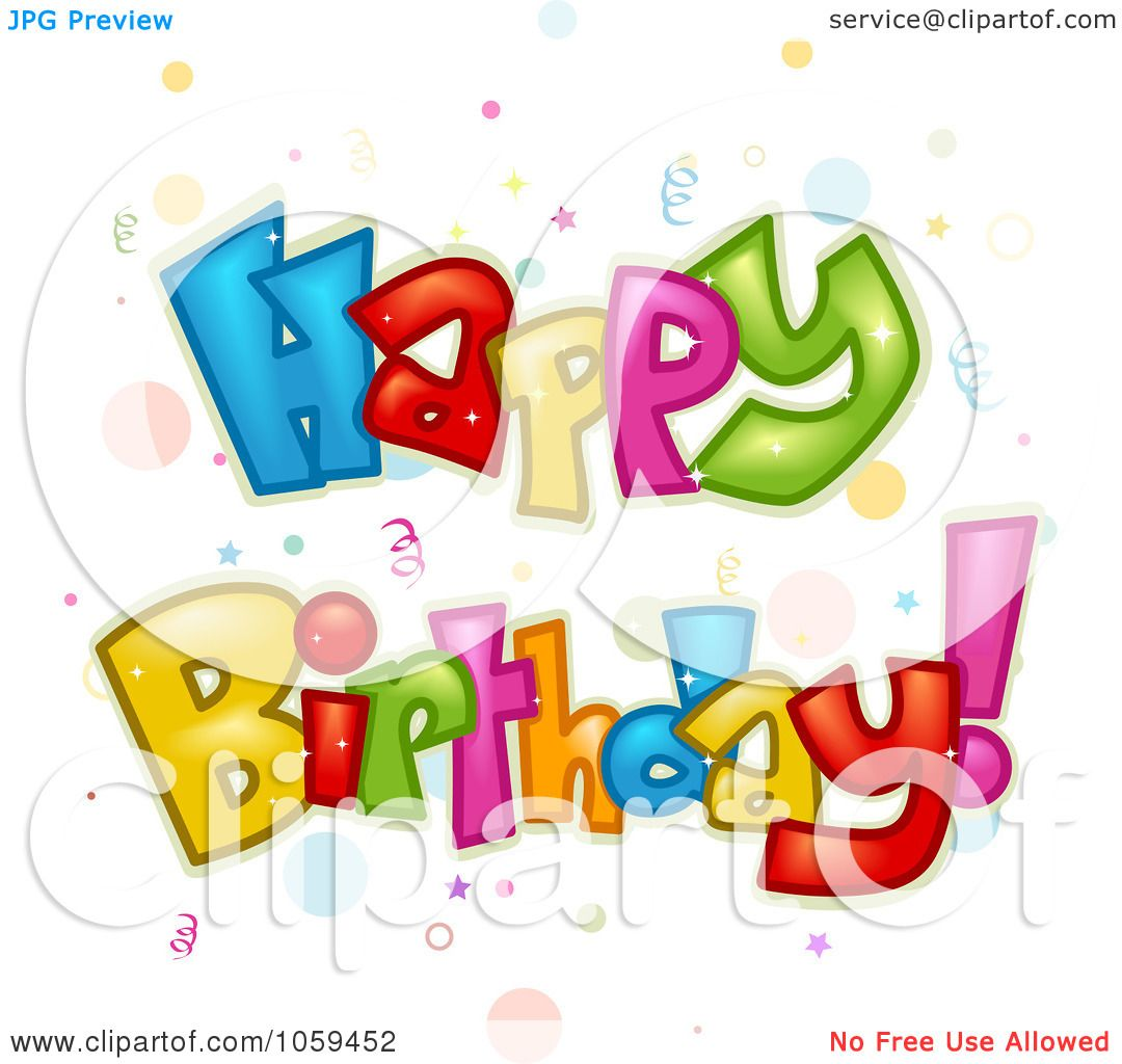 Royalty-Free Vector Clip Art Illustration of Colorful Happy Birthday Text With ...