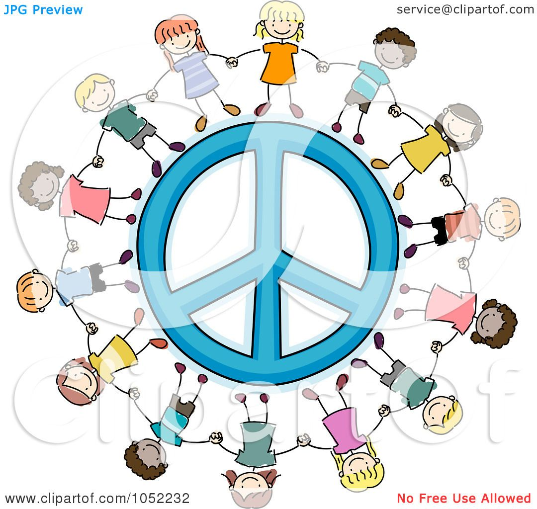 51b97e23e Royalty-Free Vector Clip Art Illustration of Doodled Kids Holding Hands  Around A Peace Symbol