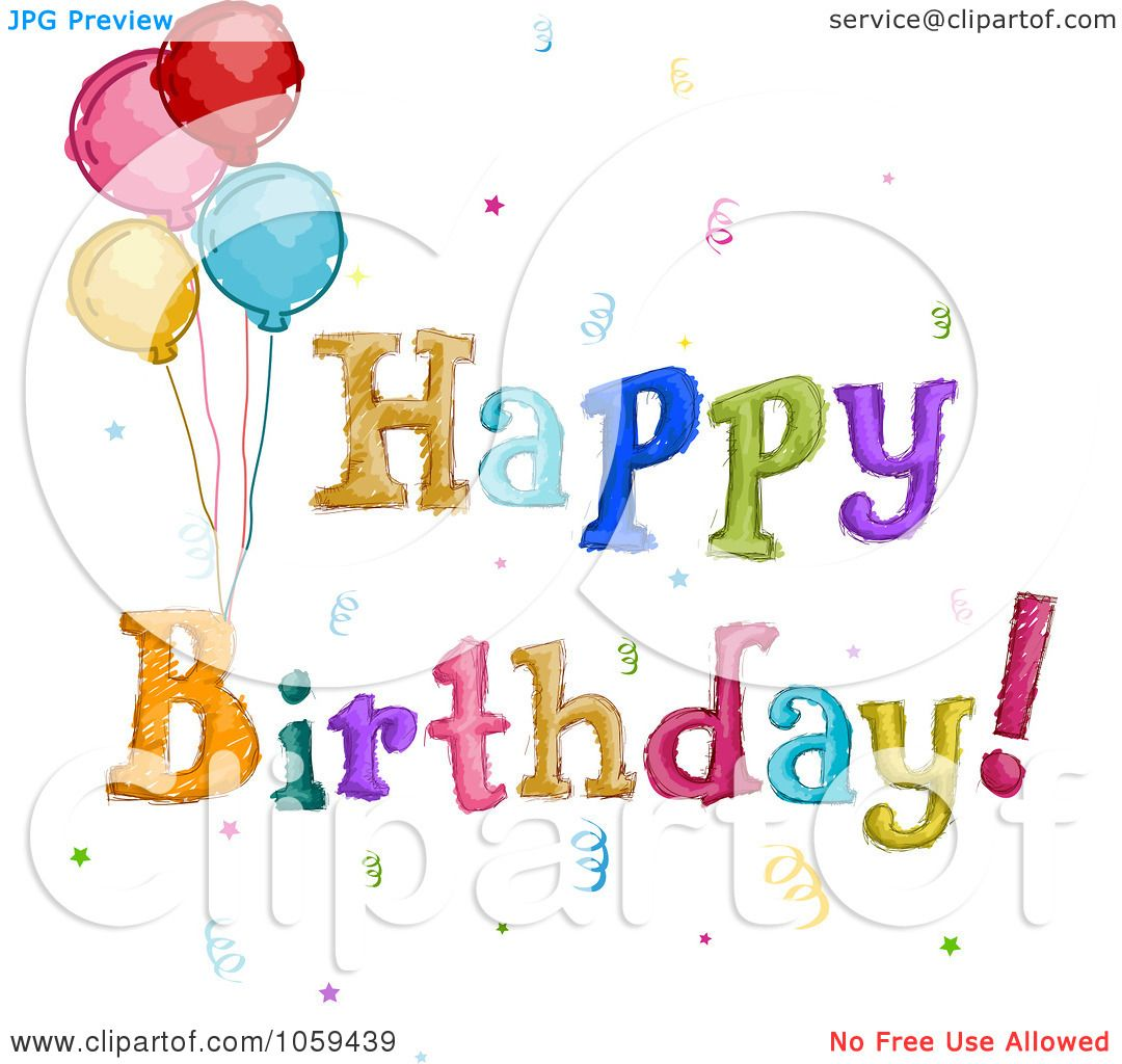 Royalty Free Vector Clip Art Illustration Sketched Happy Birthday
