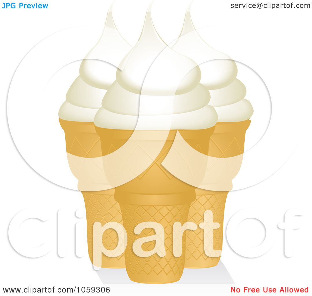 Ice Cream Cones Background Royalty Free Vector Image: Royalty-Free Vector Clip Art Illustration Of Three Vanilla