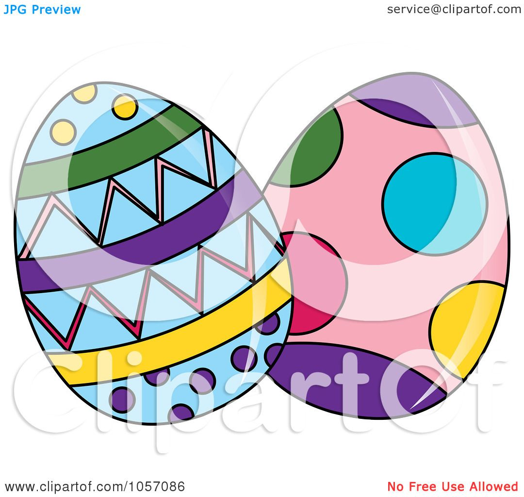 Royalty Free Vector Clip Art Illustration Of Two Patterned Easter Eggs By Pams Clipart
