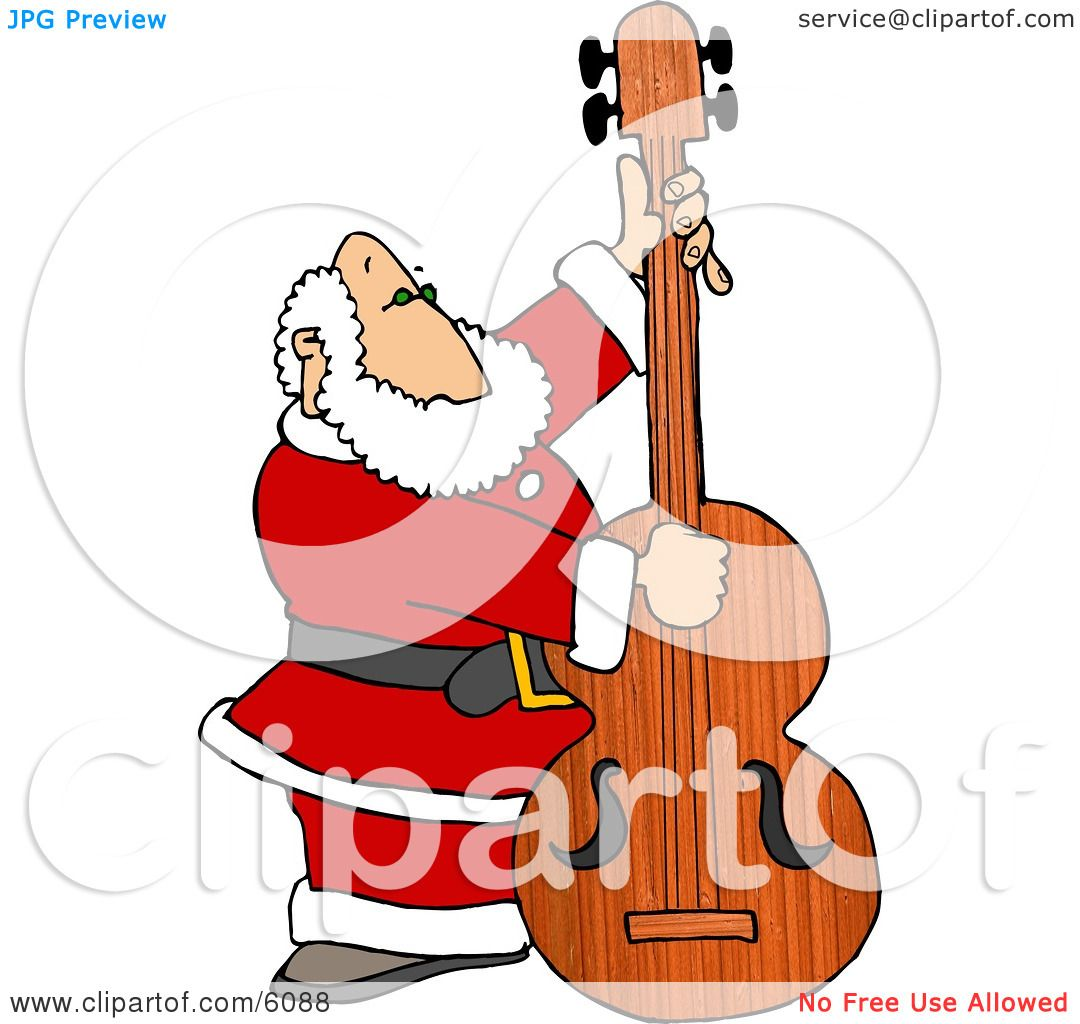 Santa Claus Playing Christmas Music on a Double Bass Clipart ...