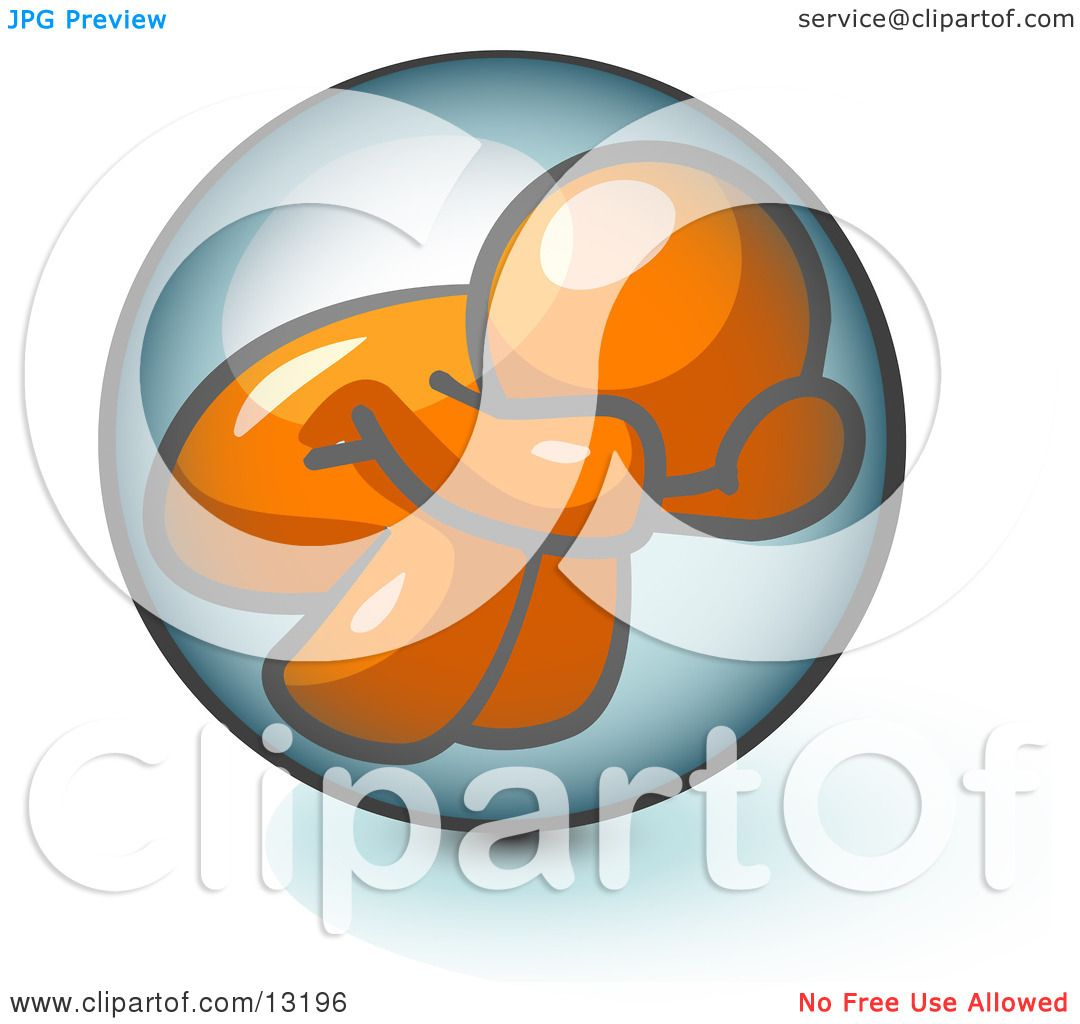 Shy Orange Man Hiding Inside A Bubble Clipart Illustration