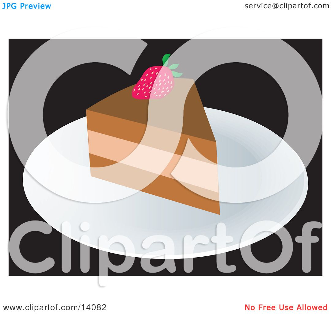 Slice of Cake With a Strawberry Food Clipart Illustration ...