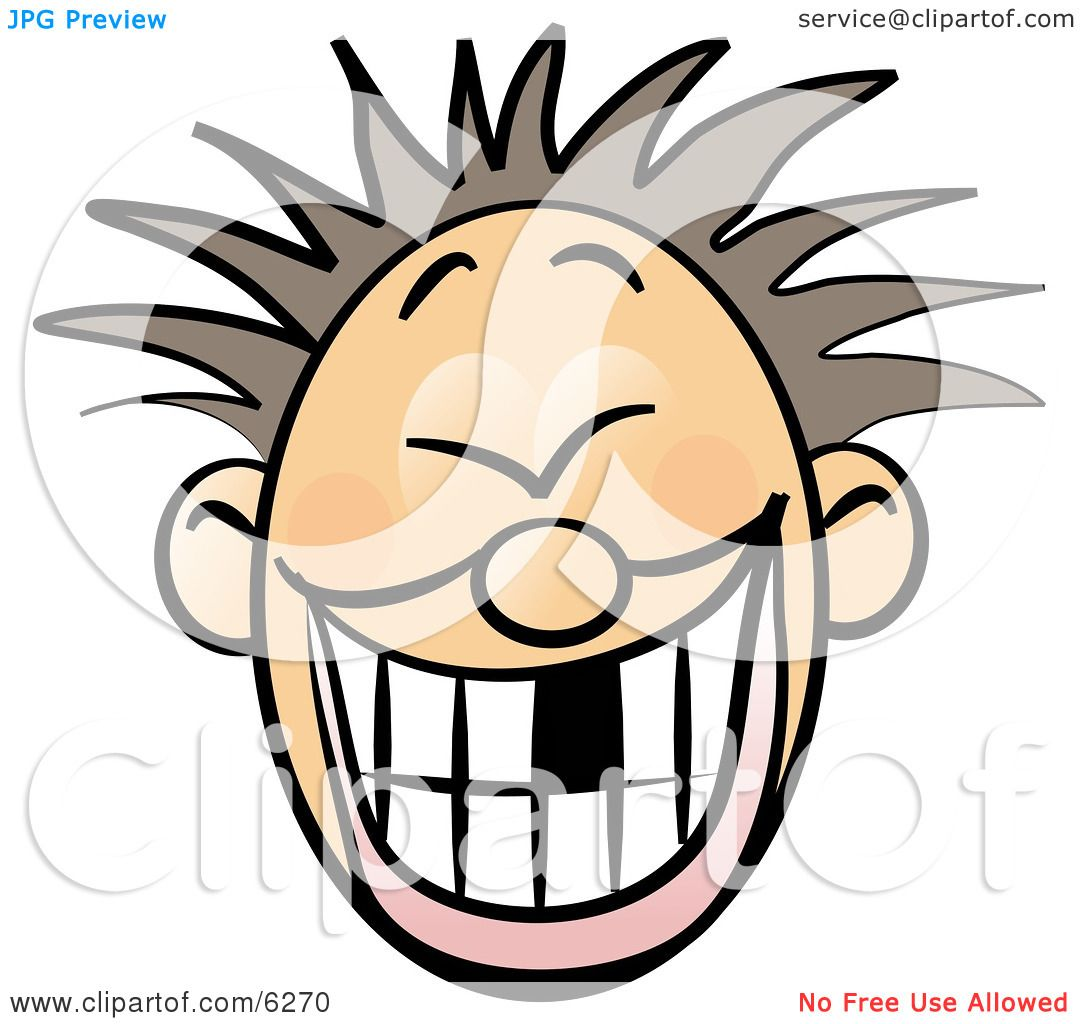 Smiley Faced Boy With Spiky Boy Hair Clipart