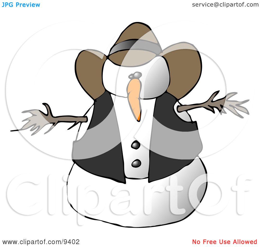 Snowman Cowboy Clipart Illustration By Djart 9402