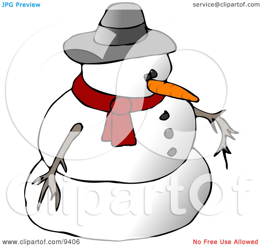 Snowman Wearing A Scarf And Hat Clipart Illustration By