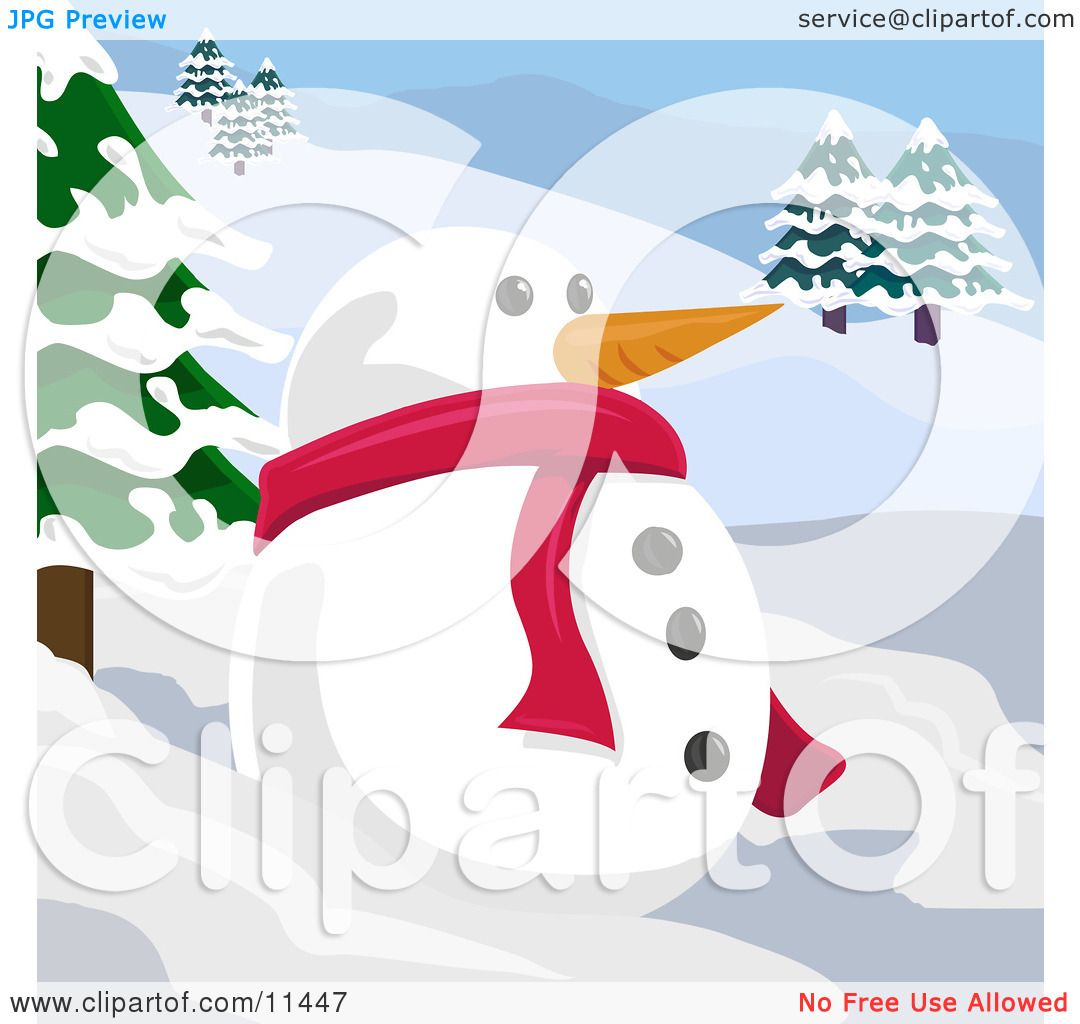 Carrot Nose Clipart Snowman With a Carrot Nose in