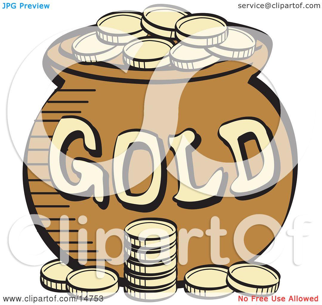 stack of gold coins near a pot of leprechaun u0027s gold clipart