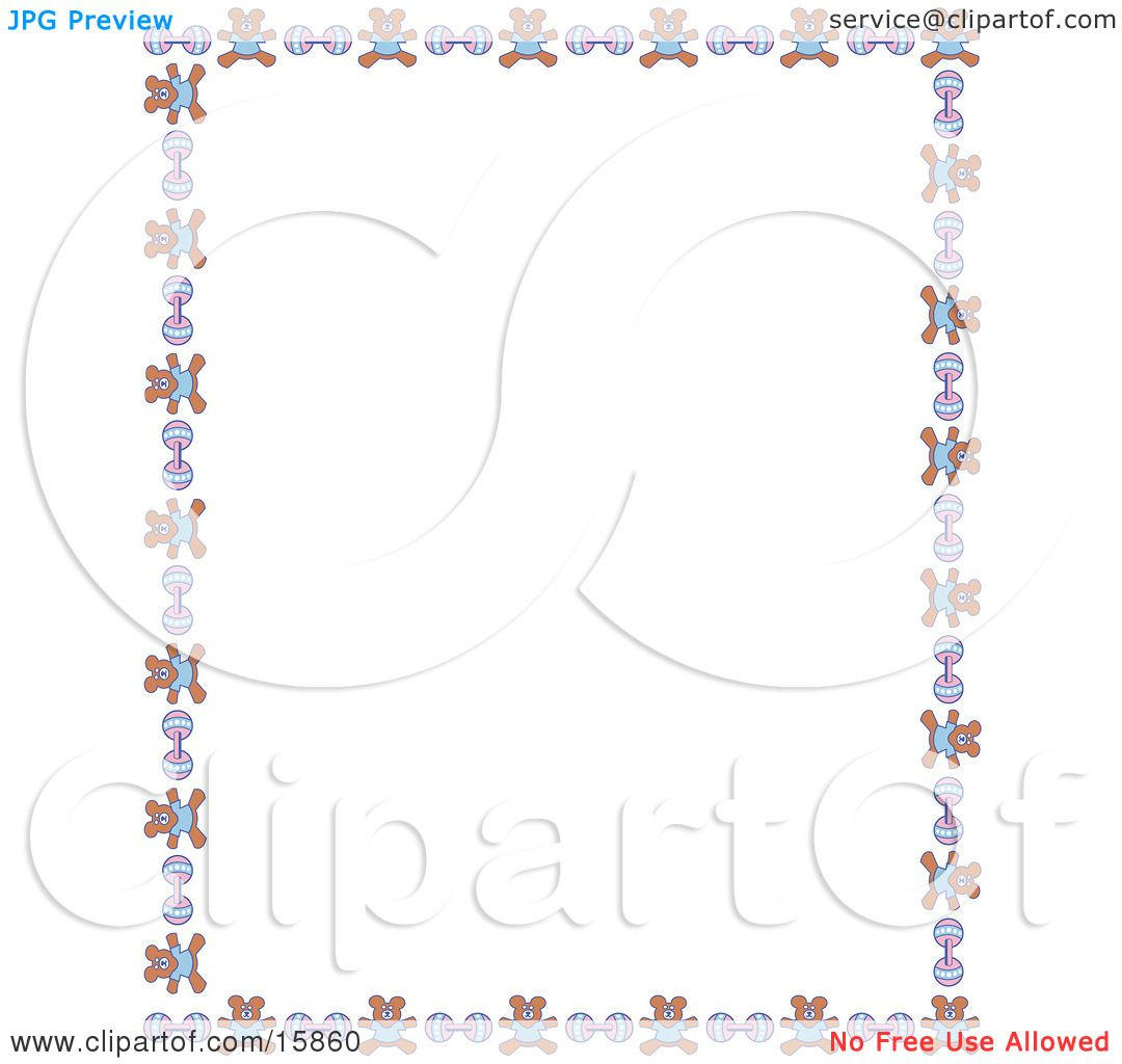 Stationery Border Of Teddy Bears And Baby Rattles Over A ...