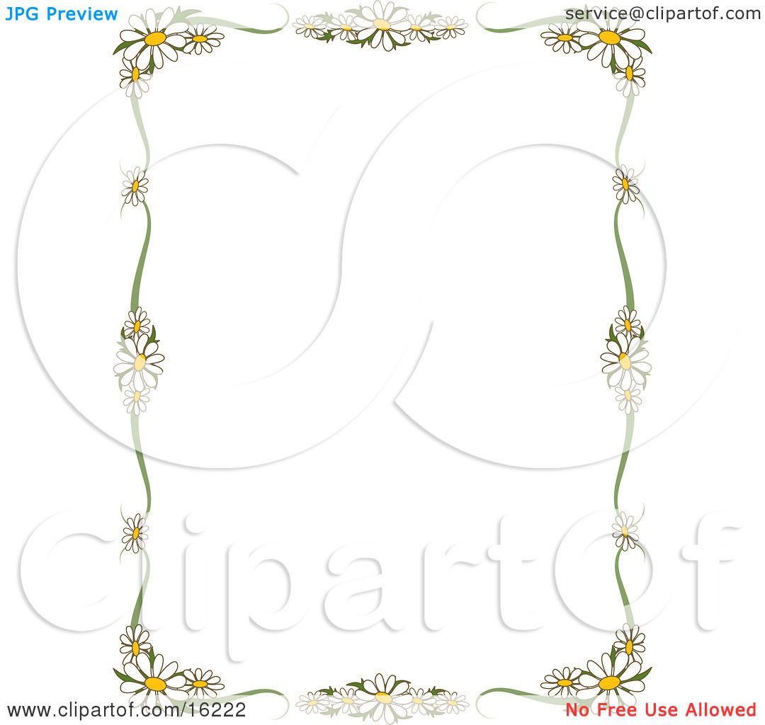 Stationery border of white daisy flowers with yellow centers framing stationery border of white daisy flowers with yellow centers framing a white background clipart illustration image by maria bell izmirmasajfo