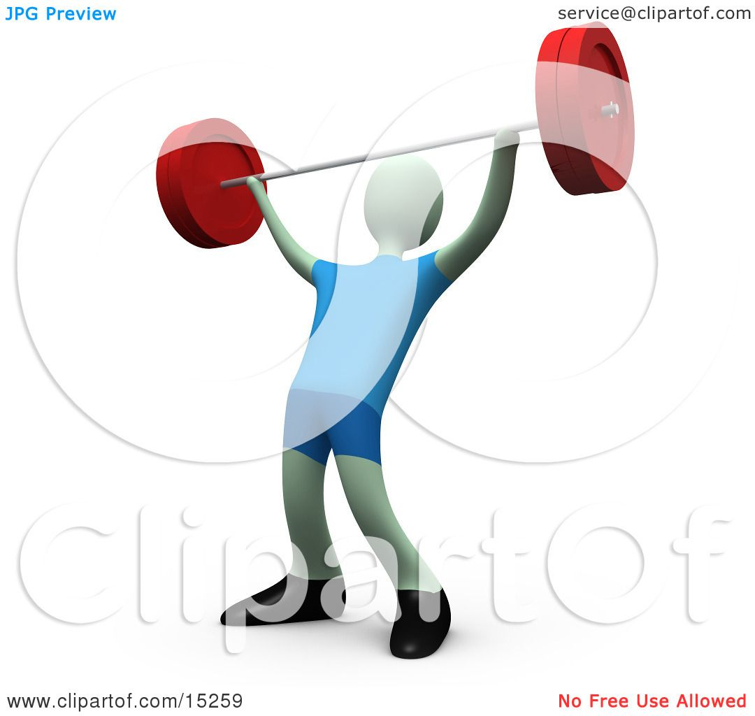 Strong Man Lifting Heavy Barbell Weights Above His Head In
