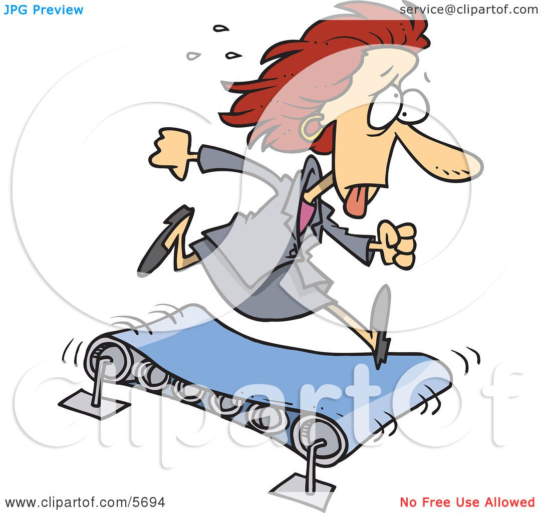 Sweaty Business Woman Running on a Treadmill Clipart Illustration ...