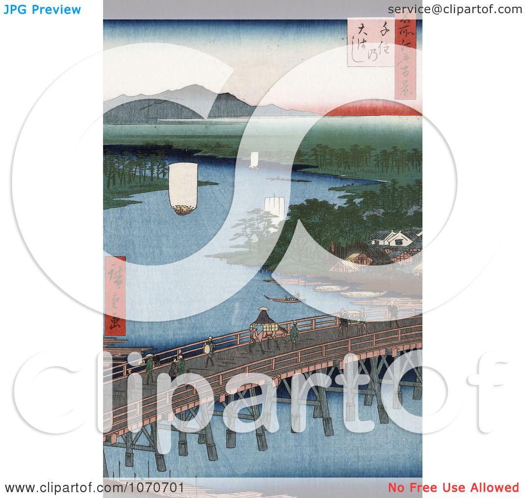 ... , Japan - Royatly Free Historical Stock Illustration by JVPD #1070701: www.clipartof.com/portfolio/jvpd/illustration/bridge-of-senju...