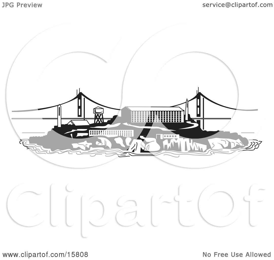 the Prison on Alcatraz Island Clipart Illustration by Andy Nortnik ...