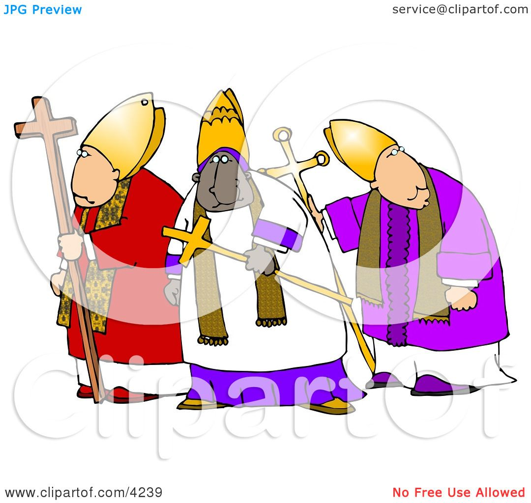 Three Bishops Standing Together, One is Ethnic Clipart by Dennis ...