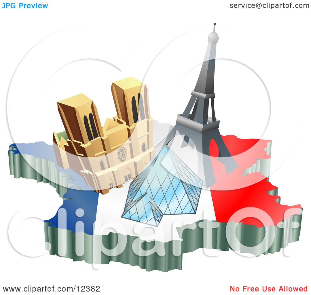 Tourist Attractions Of Notre Dame De Paris Cathedral Eiffel Tower And The Louvre Pyramid Over A Preview Clipart