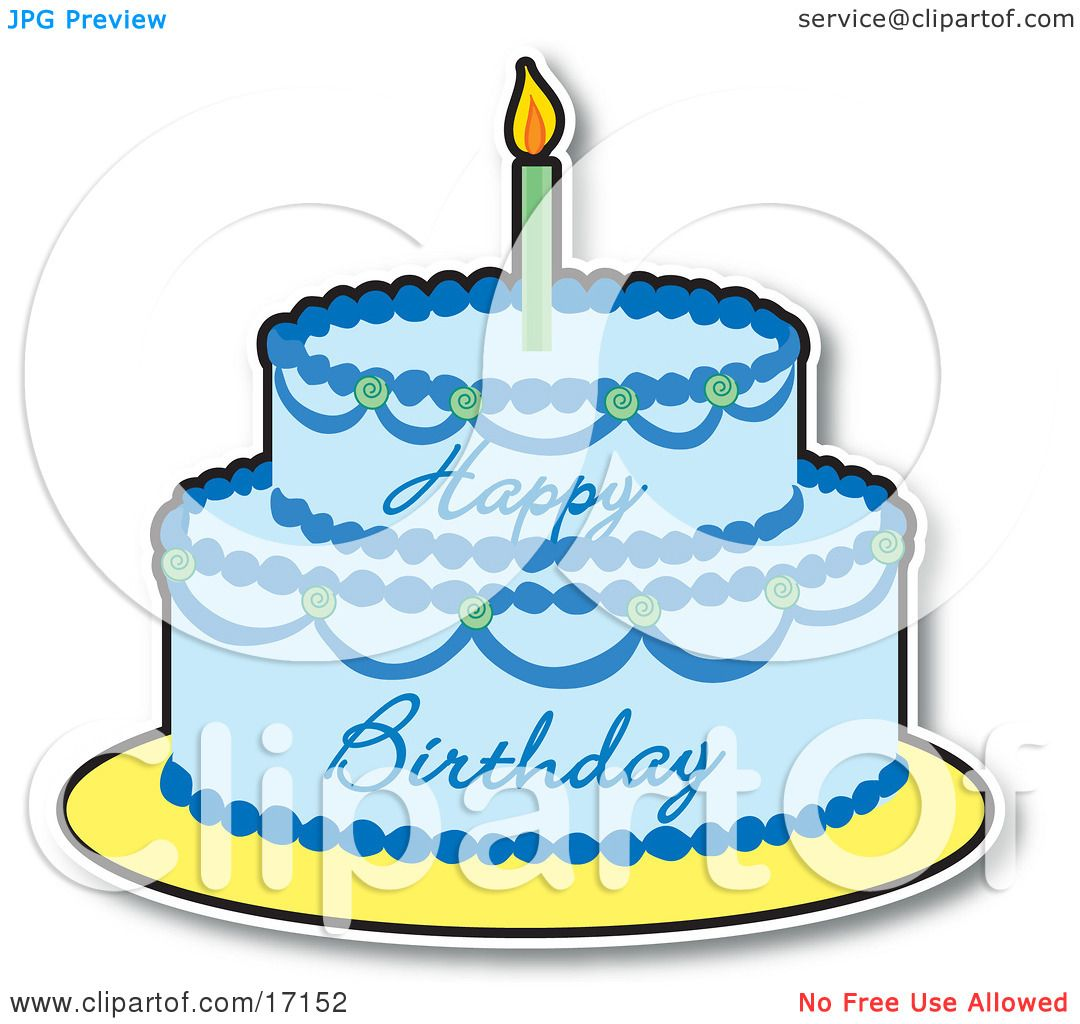 Two Layered Birthday Cake With Blue Frosting And A Lit Candle On Top