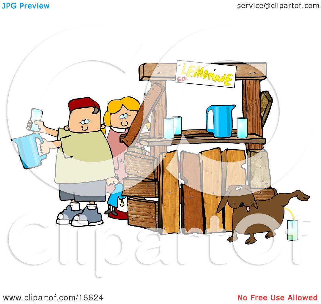 Unaware Boy and Girl Preparing Beverages at Their Lemonade